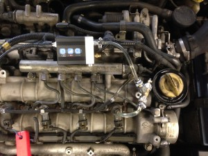 Collegamento idraulico trasduttore di pressione sul ramo del ritorno iniettori