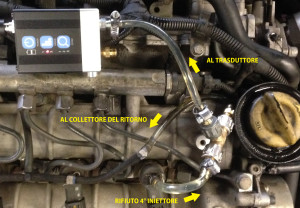 Collegamento idraulico trasduttore di pressione sul ramo del ritorno iniettori ritorno iniettori, dettaglio