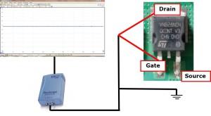 Figura 8: Collegamento per verifica funzionamento transistor