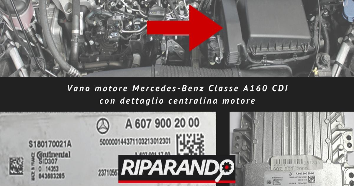 Vano motore Mercedes-Benz Classe A160 CDI con dettaglio centralina motore Riparando