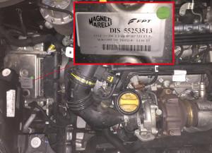 Vano motore Fiat 500L 13 mj, dettagli centralina iniezione