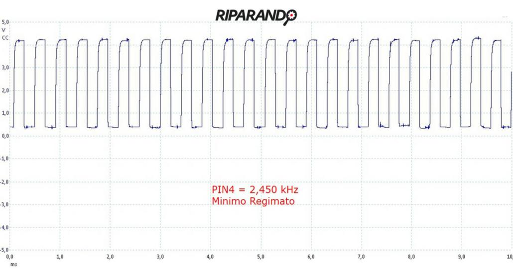 segnale massa aria aspirata, oscillogramma con flusso aria medio