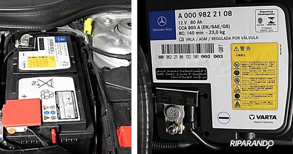 Auto ibride batteria AGM installata su Mercedes Classe A (modello W176)