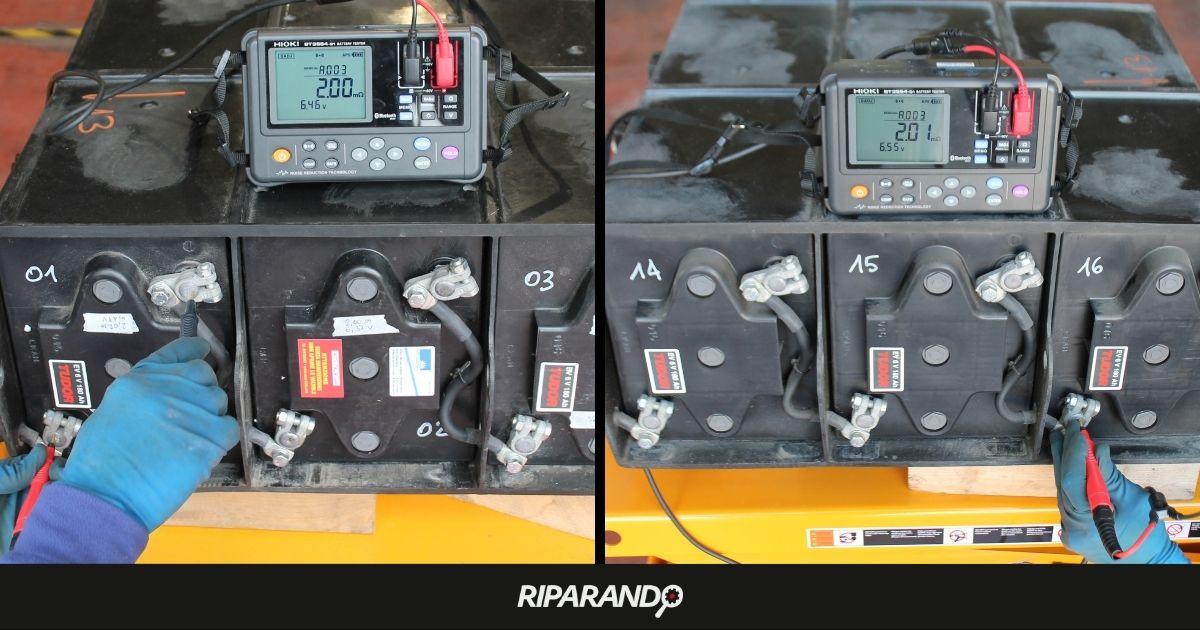 Misura di tensione e impedenza interna su batterie a seguito del ripristino Piaggio Porter