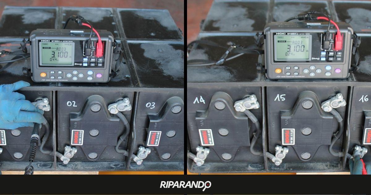 Misura di tensione e impedenza interna su batterie prima del ripristino su Piaggio Porter